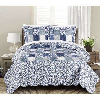 Joyanna 3-Piece Indigo Full and Queen Quilt Set