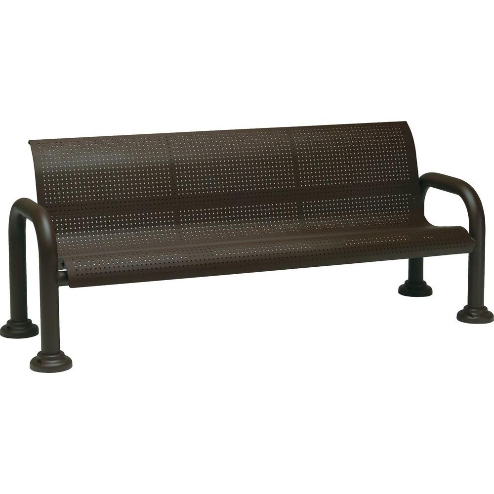 Fine Tradewinds Harbor 6 Ft Contract Perforated Bench With Back In Textured Bronze Ibusinesslaw Wood Chair Design Ideas Ibusinesslaworg