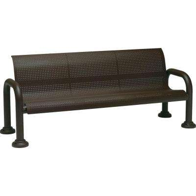 Harbor 6 ft. Contract Perforated Bench with Back in Textured Bronze