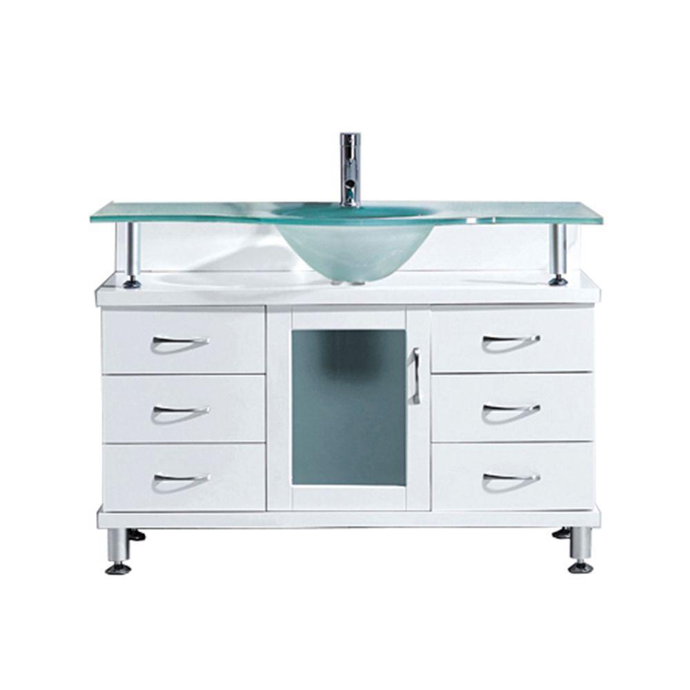 Virtu USA Vincente 47.24 inch W x 21.65 inch D x 33.54 inch H White Vanity With Glass... by Virtu USA