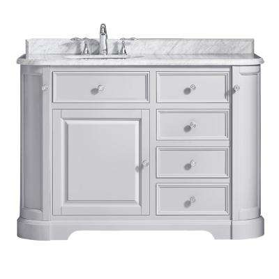 D Vanity In Dove Gray With Marble