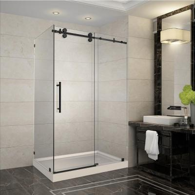 Langham 48 in. x 35 in. x 77.5 in. Completely Frameless Sliding Shower Enclosure in Oil Rubbed Bronze with Right Base