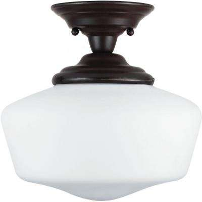 Academy 11.5 in. W 1-Light Heirloom Bronze Semi-Flush Mount with Satin White Glass