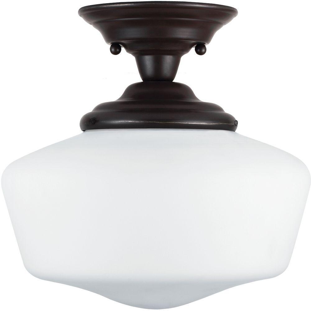 Academy 11.5 in. W 1-Light Heirloom Bronze Semi-Flush Mount with Satin White Glass