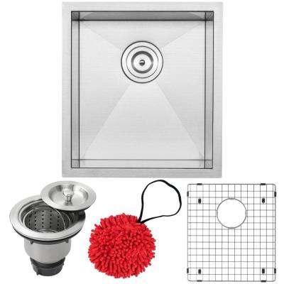 Pacific Zero Radius Undermount 16-Gauge Stainless Steel 16 in. Single Basin Kitchen and Bar Sink with Accessory Kit