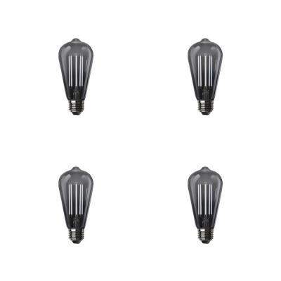 60-Watt Equivalent ST19 Dimmable LED Smoke Glass Vintage Edison Light Bulb With Straight Filament Daylight (4-Pack)