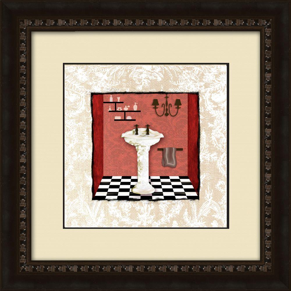 "17-1/2 in. x 17-1/2 in. ""Damask Bath A"" Framed Wall Art"