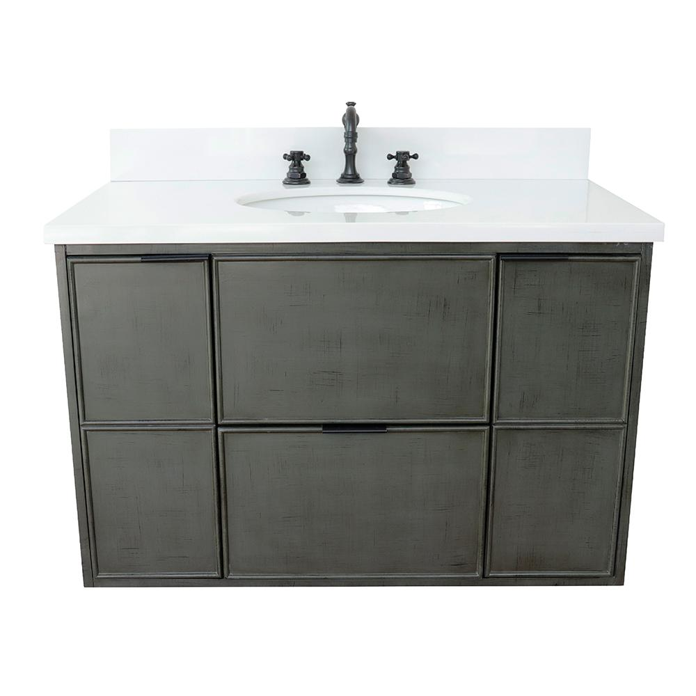 Bellaterra Home Scandi II 37 in. W x 22 in. D Wall Mount Bath Vanity in Gray with Quartz Vanity Top in White with White Oval Basin