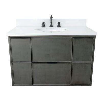 Scandi II 37 in. W x 22 in. D Wall Mount Bath Vanity in Gray with Quartz Vanity Top in White with White Oval Basin