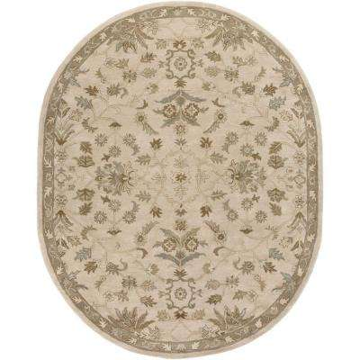 Zari Beige 8 ft. x 10 ft. Oval Indoor Area Rug