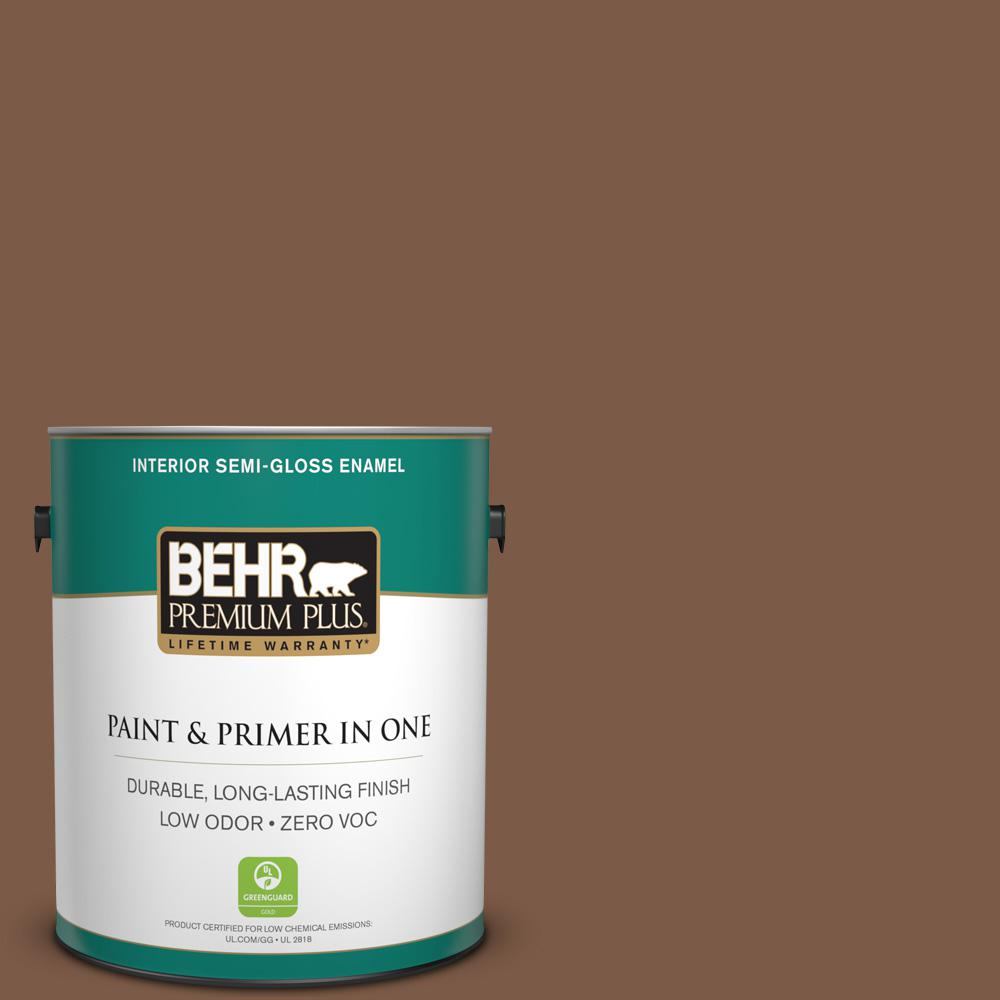 1-gal. #BXC-65 Outback Brown Semi-Gloss Enamel Interior Paint