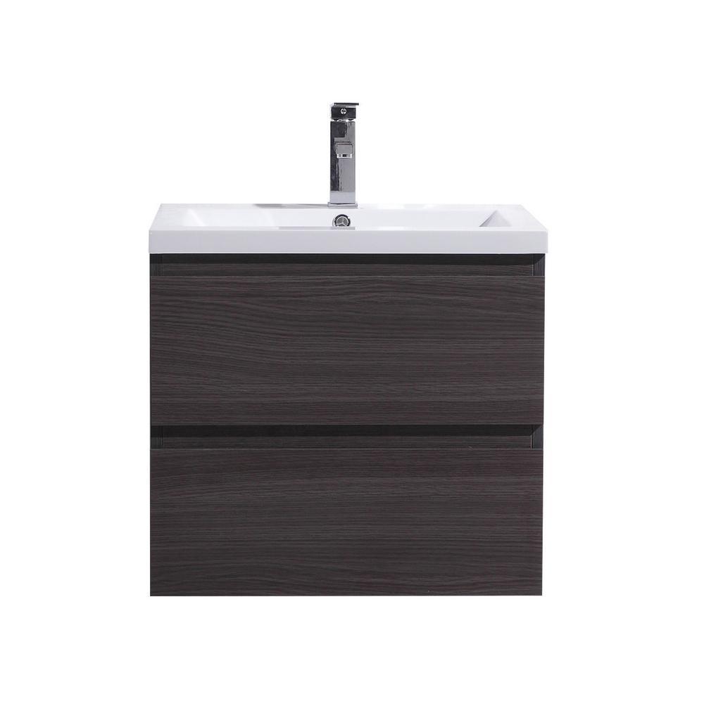 W Bath Vanity in Dark Gray Oak with Reinforced Acrylic Vanity Top in White with White Basin