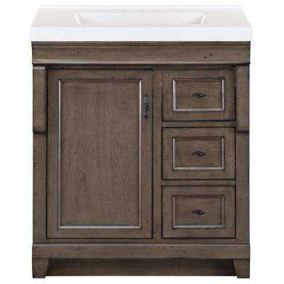 Naples 31 in. W x 22 in. D Bath Vanity in Distressed Grey with Cultured Marble Vanity Top in White with White Sink