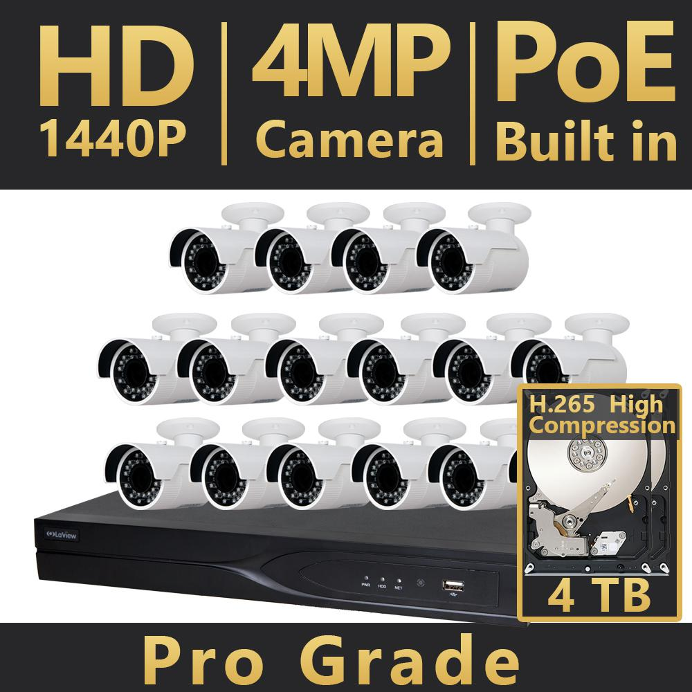 16-Channel HD 4MP IP Indoor/Outdoor Surveillance 4TB NVR 4K Output System