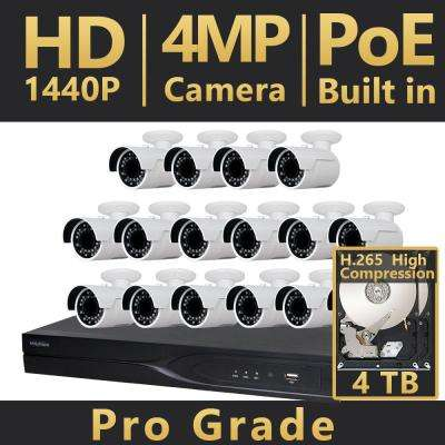 16-Channel HD 4MP IP Indoor/Outdoor Surveillance 4TB NVR 4K Output System (16) Bullet Cameras H.265 2X Recording Time