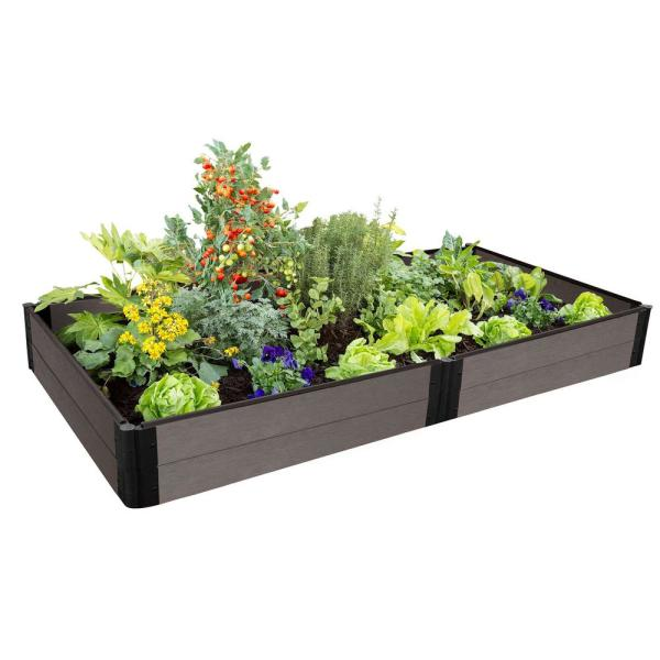 One Inch Series 4 ft. x 8 ft. x 11 in. Weathered Wood Composite Raised Garden Bed