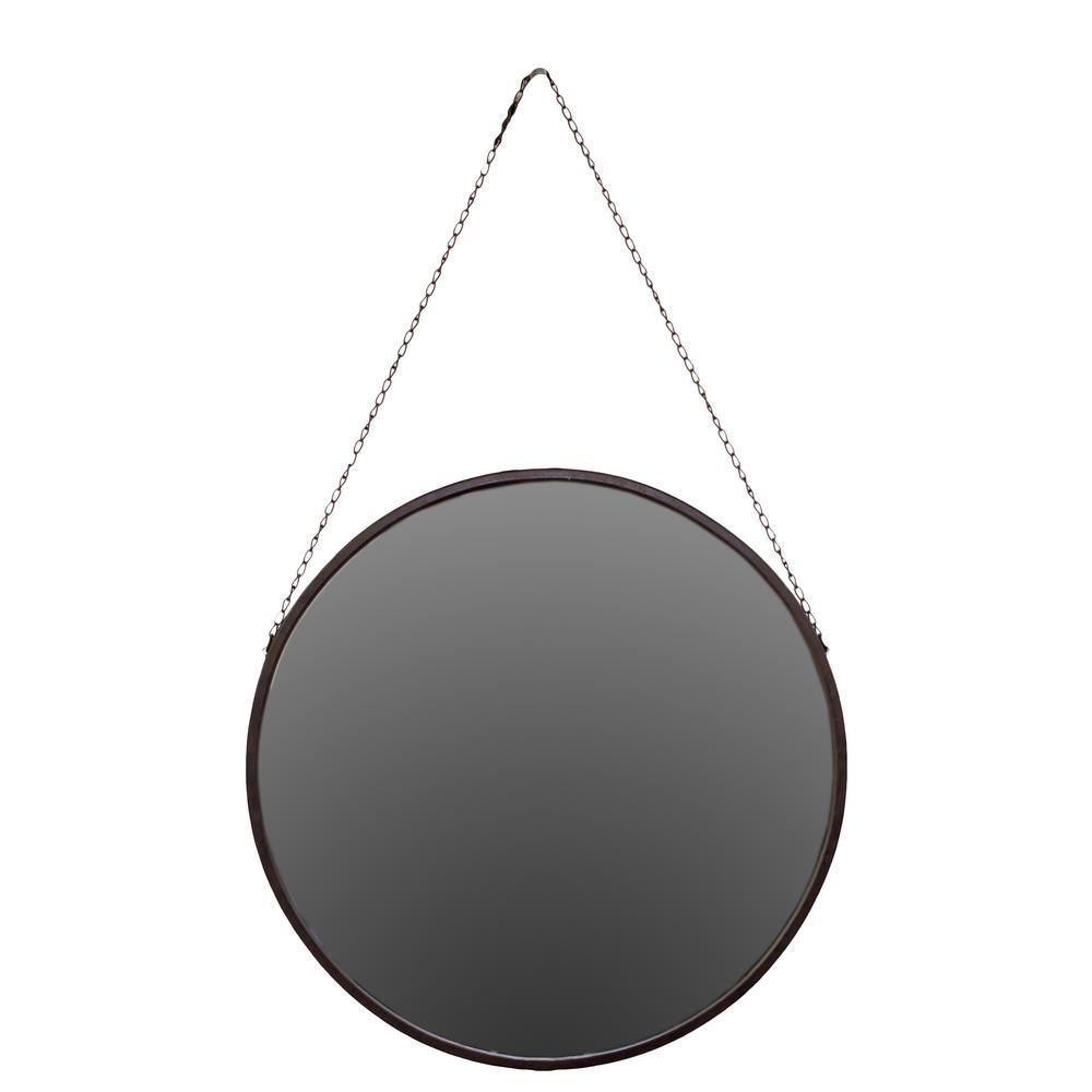 Round Brown Rust Mirror