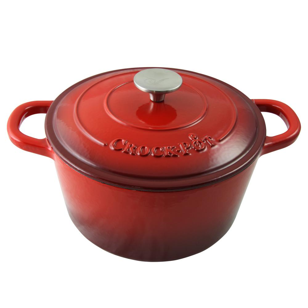 Crock-Pot Artisan 5 Qt. Round Enameled Cast Iron Dutch Ov...