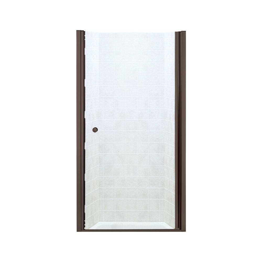 STERLING Finesse 37-3/4 in. x 65-1/2 in. Semi-Frameless Pivot Shower Door in Deep Bronze with Handle