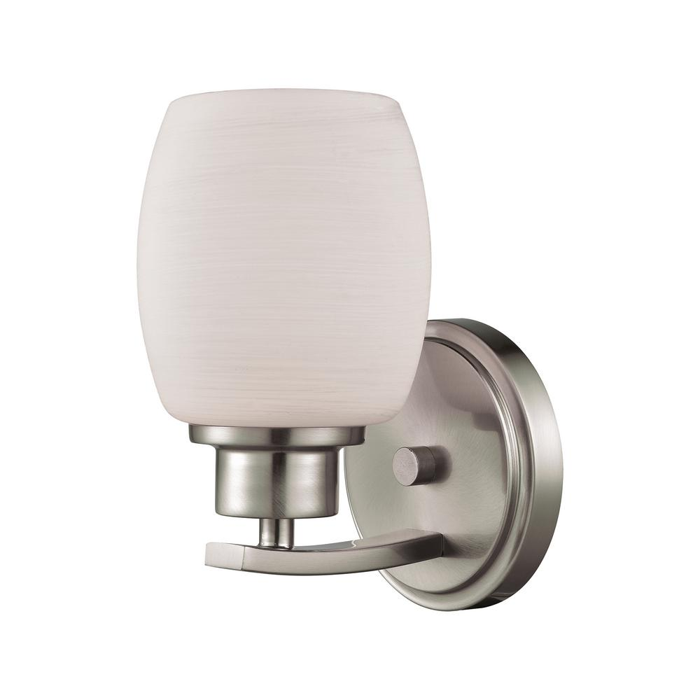 Casual Mission 1-Light Brushed Nickel with White Lined Glass Bath Light