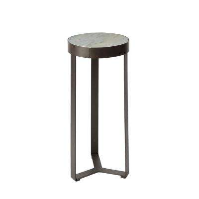 Stella Gunmetal Faux Marble Round Accent Table