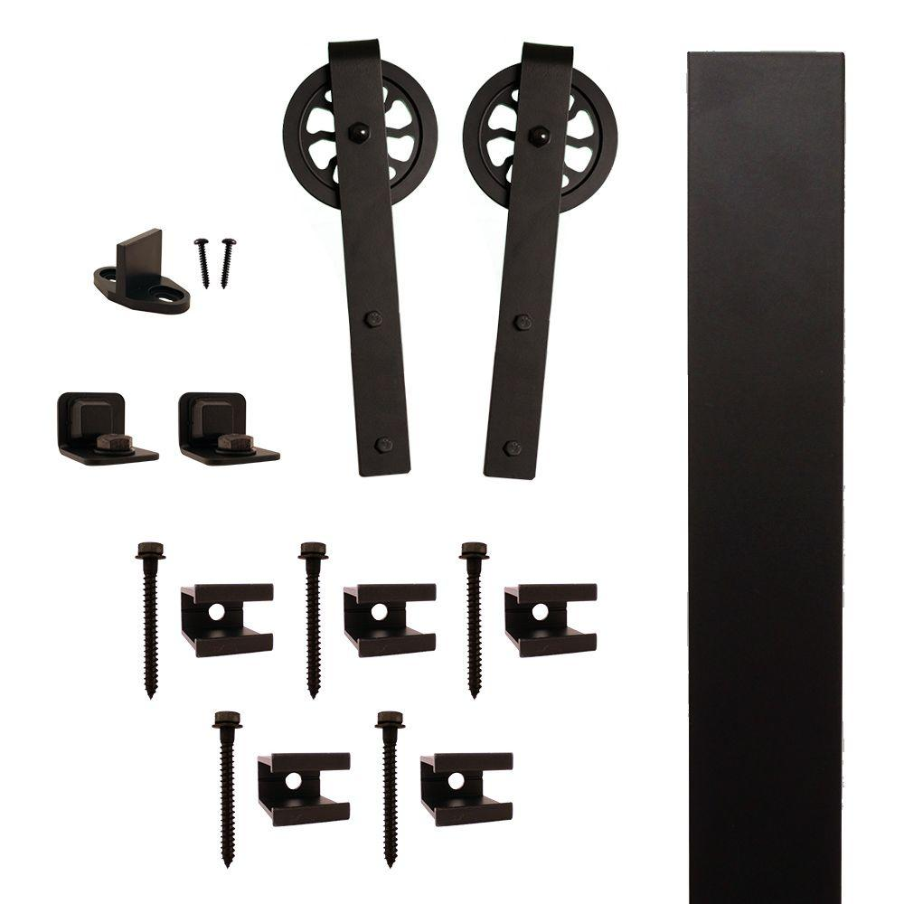 Hook Strap Black Rolling Barn Door Hardware Kit with 5 in...