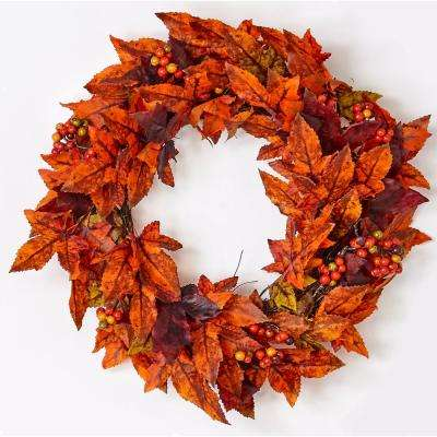 20 in. Maple Leaf and Berry Wreath