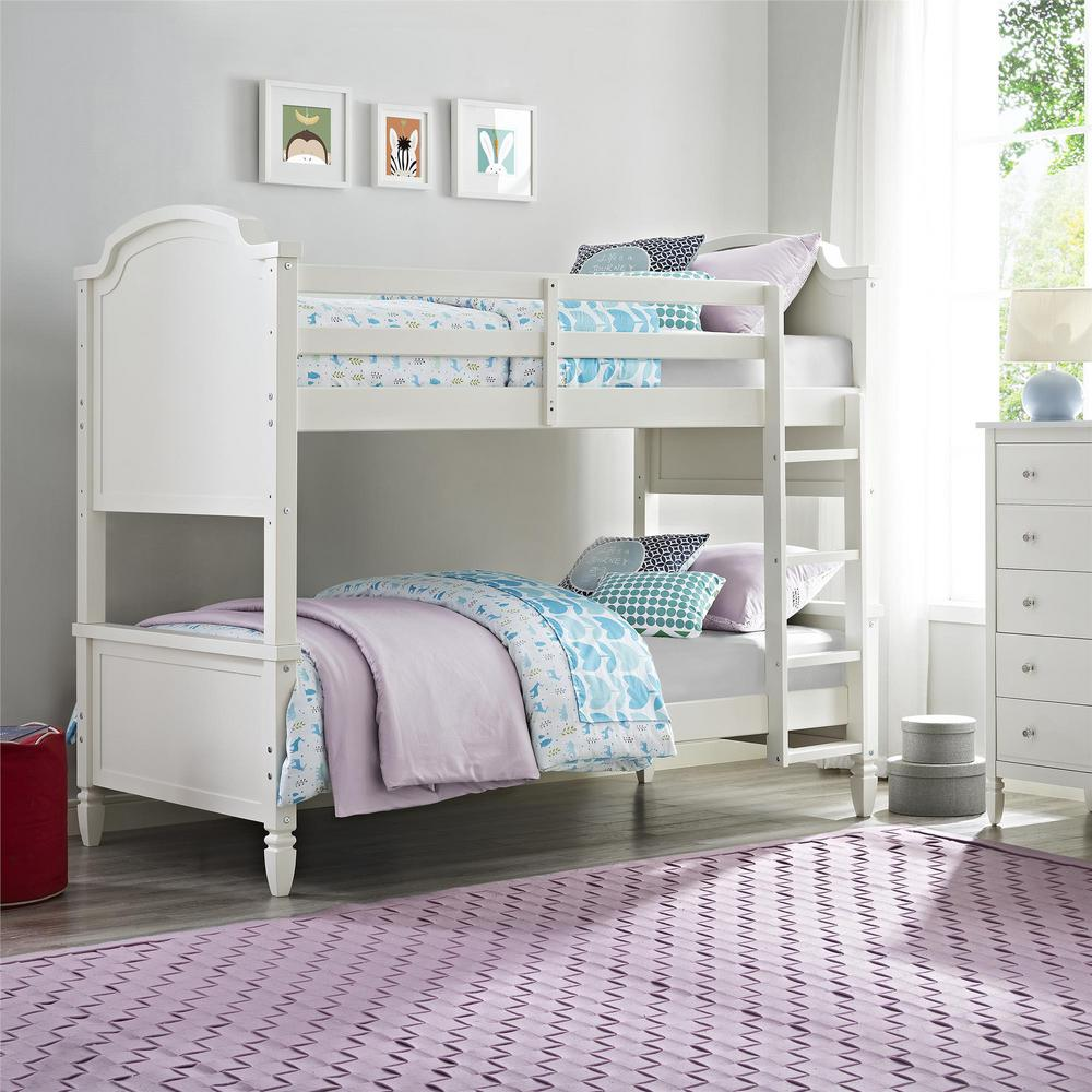Dorel White Twin Over Twin Bunk Bed Vivienne