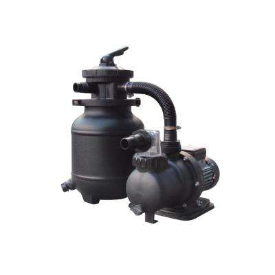 1/3 HP Sand Filter Pump System for Above Ground Pools with Multiport Valve, 10 in. 25 lb. 1,850 GPH 115-Volt