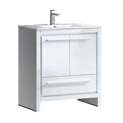 Allier 30 in. Bath Vanity in White with Ceramic Vanity Top in White with White Basin