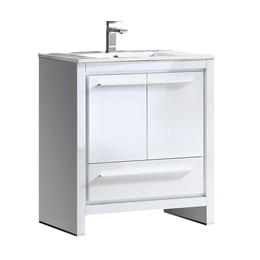 Allier 30 in. Bath Vanity in White with Ceramic Vanity Top in White with White Basin