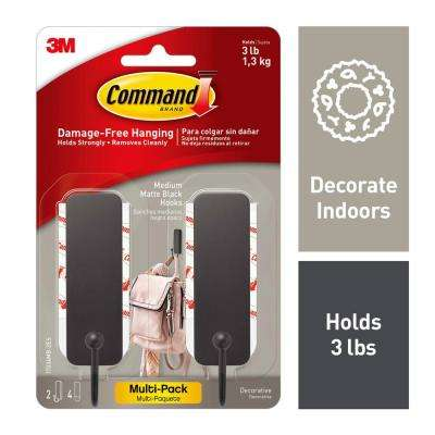 Medium Black Matte Hooks (2-Hooks and 4-Adhesive Strips)