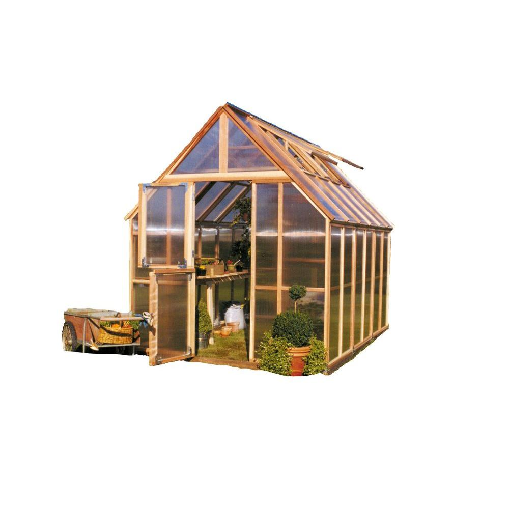Sunshine Gardenhouse 96 in. W x 144 in. D x 120 in. H Redwood Frame Polycarbonate Greenhouse