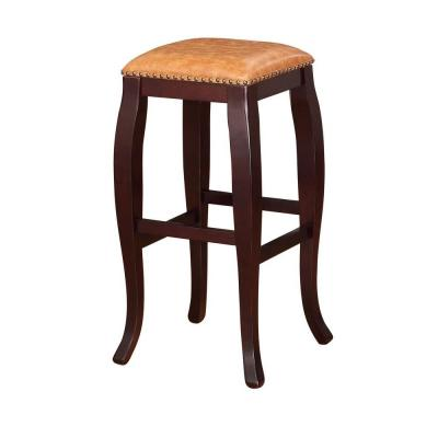 San Francisco 30 in. Brown Wenge Cushioned Bar Stool