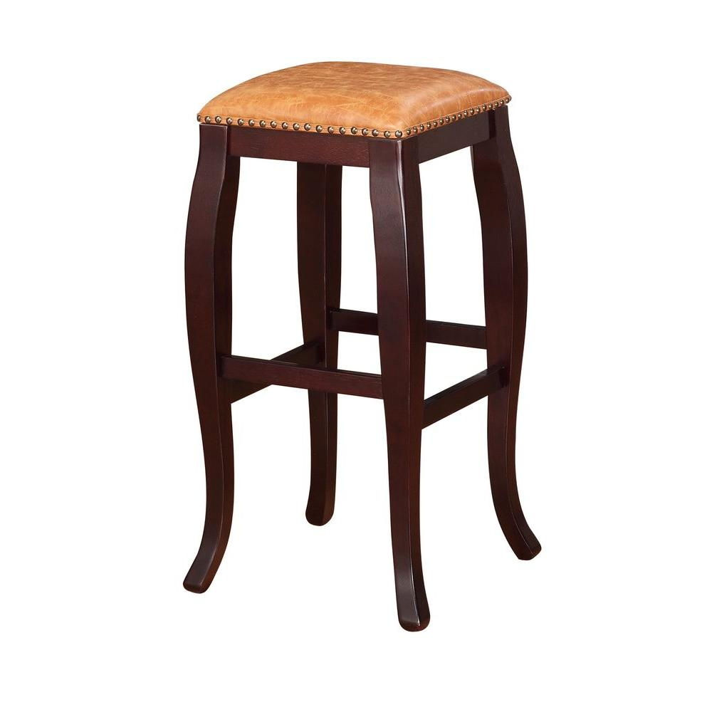 Linon home decor san francisco 30 in brown wenge cushioned bar stool 178205car01 the home depot - Home decor san francisco image ...