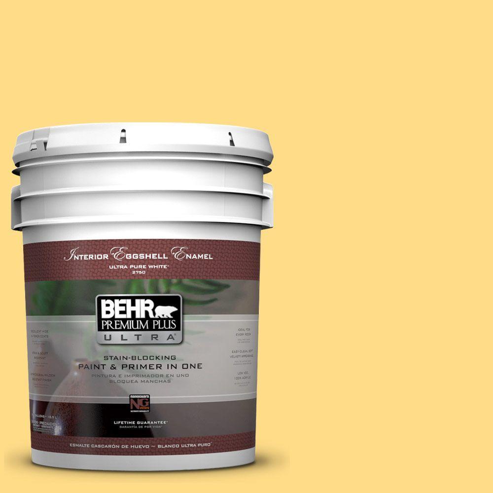 Behr premium plus ultra 5 gal 340b 5 yellow brick road for Eggshell yellow paint