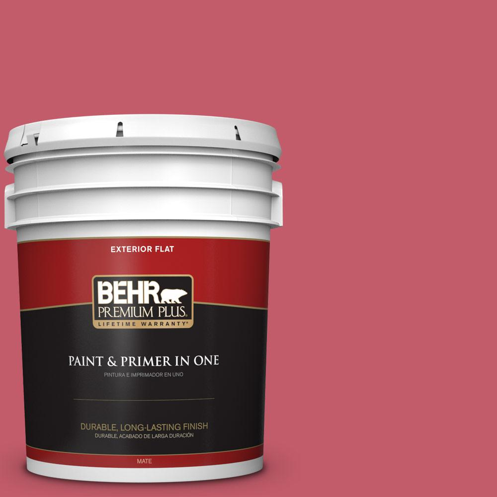 BEHR Premium Plus 5 gal. #MQ4-1 Candy Drop Flat Exterior Paint and ...