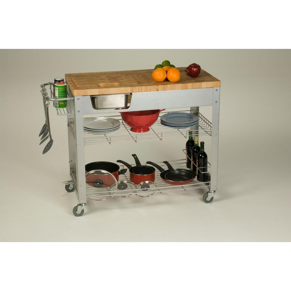 Stadium Natural Kitchen Cart With Storage