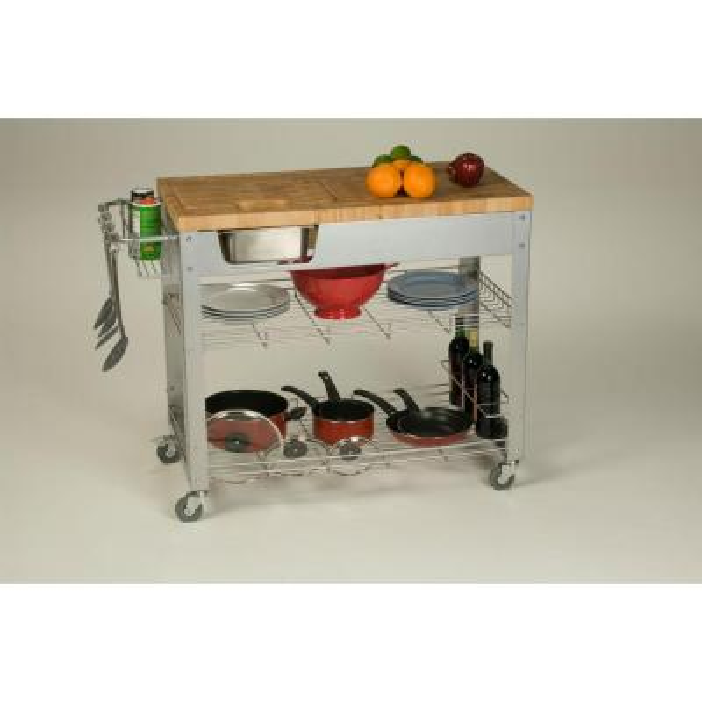 Stadium Natural Wood Kitchen Cart with Storage