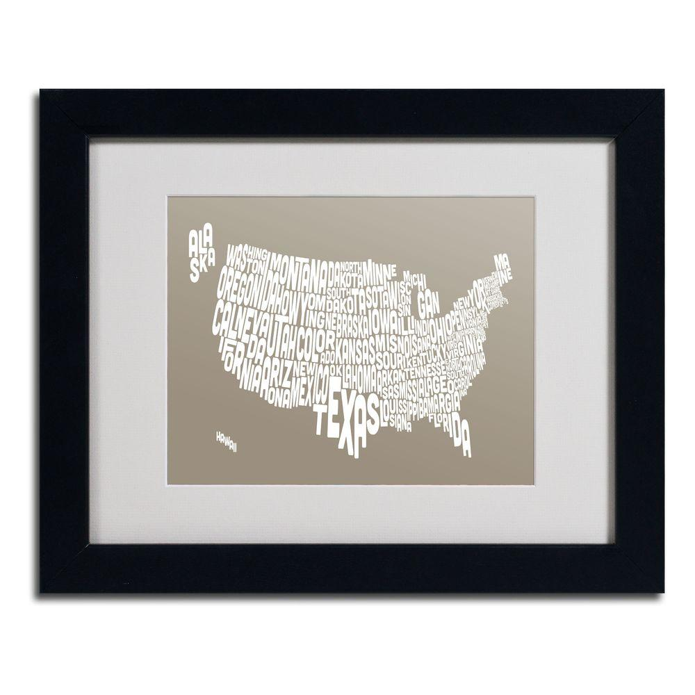 Trademark Fine Art 11 in. x 14 in. USA States Text Map - Taupe Matted Framed Art