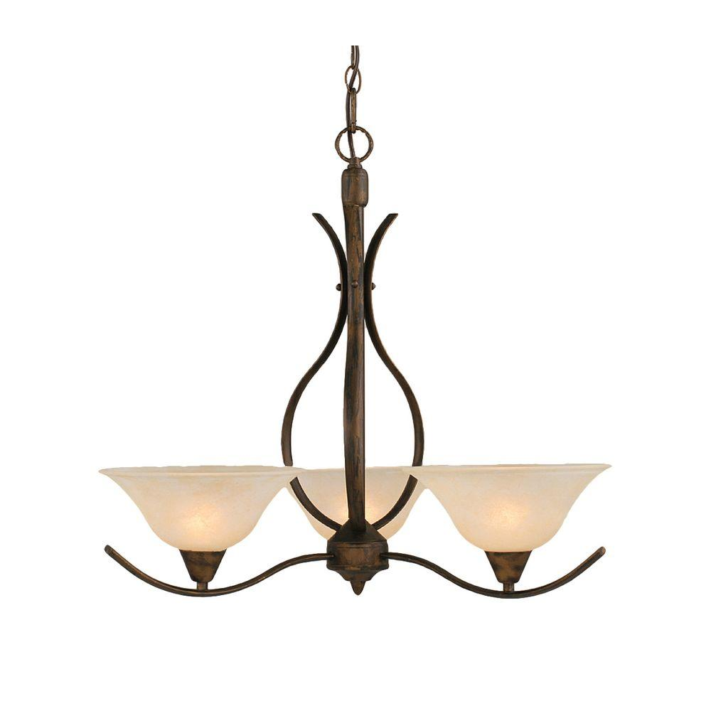 Concord 3-Light Bronze Chandelier with Amber Marble Glass Shade