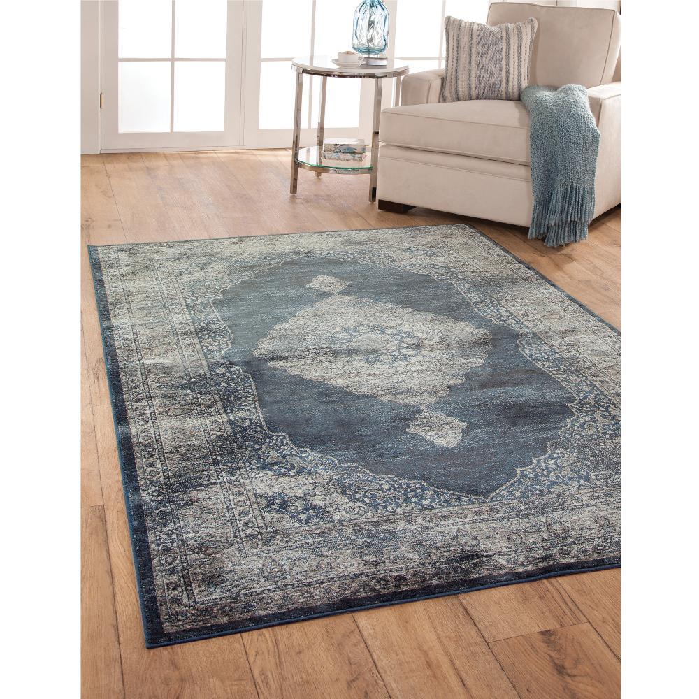 sonoma bryson navy blue 5 ft x 8 ft area rug 7237 5x8 the home depot. Black Bedroom Furniture Sets. Home Design Ideas
