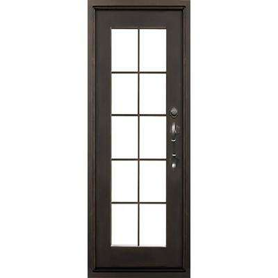 40 in.x81.5 in. Key Largo Flat Top Right-Hand Classic Painted Wrought Iron Single Prehung Front Door (Hardware Included)