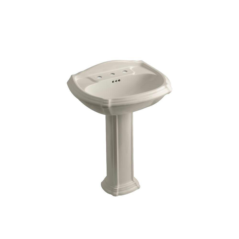 KOHLER Portrait Vitreous China Pedestal Combo Bathroom Sink in Sandbar with Overflow Drain