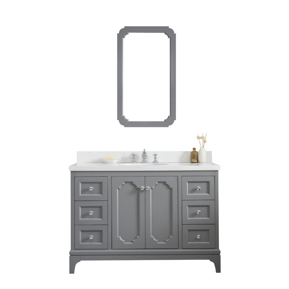 Water Creation Queen 48 in. Cashmere Grey With Quartz Carrara Vanity Top With Ceramics White Basins and Mirror and Faucet