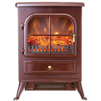 15 in. Freestanding Electric Fireplace Stove Heater in Red with Vintage Glass Door, Realistic Flame and Logs