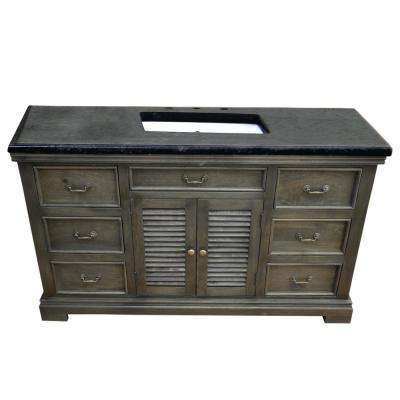 Solidified 60 in. W x 24 in. D Vanity in Gray with Black Vanity Top in Granite with White Basin