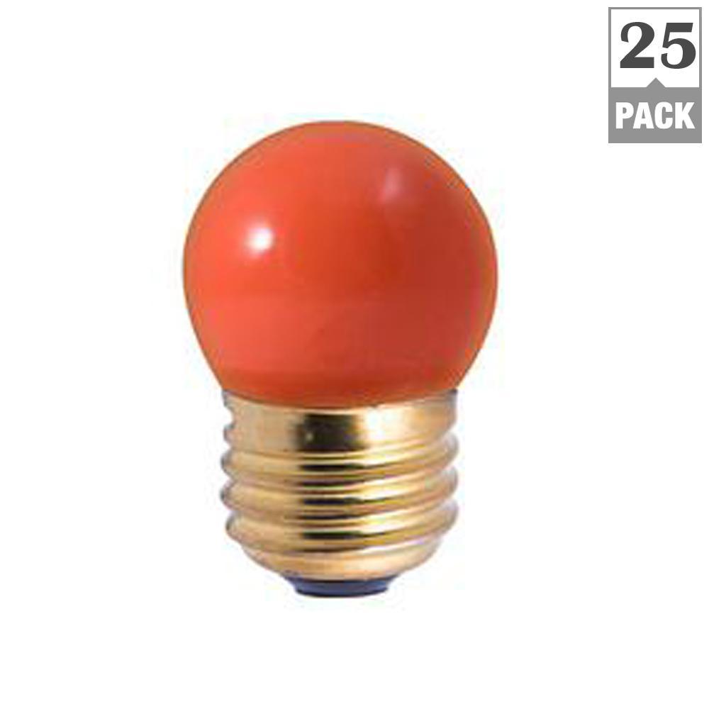 7.5-Watt S11 Ceramic Orange Dimmable Incandescent Light Bulb (25-Pack)