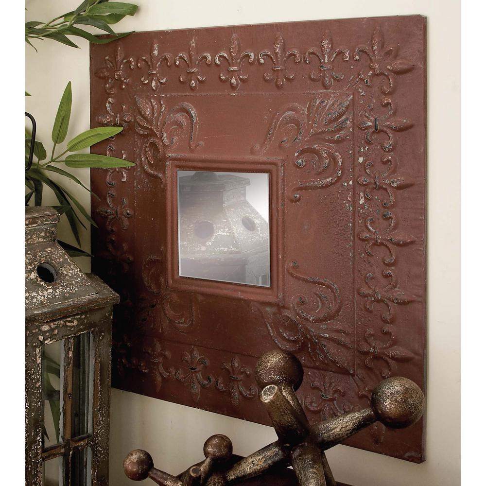 Litton Lane Rustic Elegance Fleur De Lis Wall Mirror Set 4 Pack
