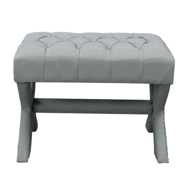 Inspired Home Charlize Light Grey Linen Button Tufted Silver Nailhead Trim